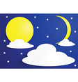 Paper full moon and crescent moon with clouds vector image vector image