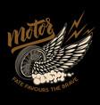 racer winged wheel design element for poster vector image