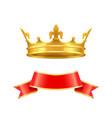 ribbon and crown icons set vector image vector image