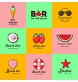 Set of nine logos for summer beach bar vector image vector image