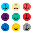 set symbols sea anchor from the ship for travel vector image