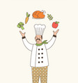 skillful chef outline vector image
