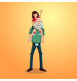 strong grandfather with granddaughter on shoulders vector image