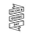 Tai Chi and Qigong day greeting emblem vector image