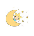 the boy is the star and the moon vector image vector image