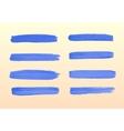 The set of blue strokes of gouache vector image vector image