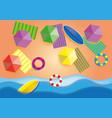 top view beach background with umbrellasballs vector image vector image