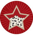 vintage red star with soccer ball football over vector image