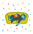 animal party lazy sloth party cute sloth lying vector image vector image