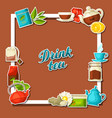background with tea and accessories packs and vector image vector image