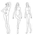beautiful slim women sketch vector image vector image