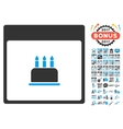 Birthday Cake Calendar Page Flat Icon With vector image vector image