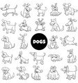 black and white cartoon dog characters large set vector image vector image