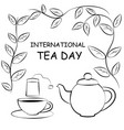 black and white drawing of cup teapot and tea bag vector image