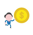 businessman character running and carrying dollar vector image vector image