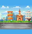 cartoon background with basketball court in city l