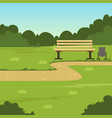 city park bench green summer landscape nature vector image