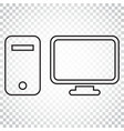 computer in line style monitor flat icon simple vector image vector image