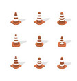 cone sign road repair in 3d isometric style vector image