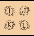 decoration letter i j k l logo design concept vector image