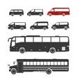 Detailed bus silhouettes set vector image vector image