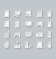 device simple paper cut icons set vector image
