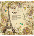 eiffel tower paris background vintage vector image vector image