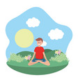 fit man practicing yoga vector image