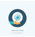 Flat eye and hand Creative vector image vector image