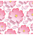 floral seamless pattern with 3d sakura and leaf vector image