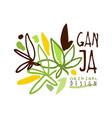 ganja label original design logo graphic template vector image