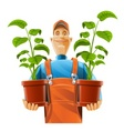 gardener with flowerpot vector image
