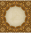 golden frame floral ornament old background vector image