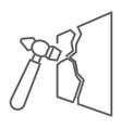 hammer tool smashing glass or breakable vector image