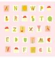 hand drawn trendy alphabet on pink background