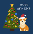 happy new year dog with hat on vector image