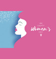 happy womens day beauty profile paper cut girl vector image