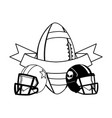 helmets and ball american football with ribbon vector image vector image