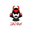 isolated samurai mask on white vector image vector image