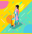 isometrics a girl in a bright raincoat with a vector image vector image