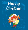 merry christmas poster elf greeting with holiday vector image vector image