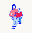 mom child reading book home remote school vector image
