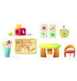 montessori kindergarten equipment toys materials vector image