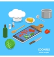 Online recipes flat isometric concept vector image
