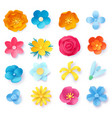 paper art flowers 3d spring origami rose daisy vector image
