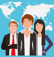 people business workers characters with world map vector image