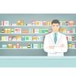 Pharmacist at counter in pharmacy opposite shelves vector image vector image