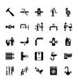 plumbing glyph icons vector image