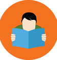 Reading person FAQ concept Flat design Icon in vector image vector image