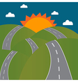 Road to the sun on mountain vector image vector image